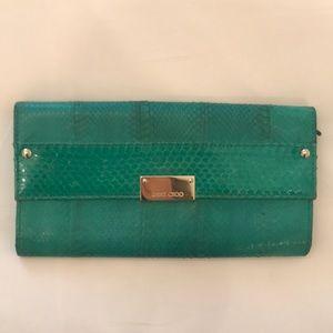 JIMMY CHOO green snakeskin clutch with cardholders